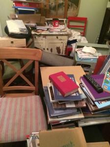 """Olohuoneen sisustuksesta huomaa perheen kirjallisen harrastuksen. Ulkopuolinen voisi todeta, että sivistys suorastaan tihkuu jokaisesta huoneen nurkasta. Tähän perheen äiti vaatimattomasti toteaa: """"Oih, näkisittepä muut huoneet!"""""""