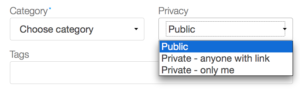 Slidesharen Privacy-alasvetovalikosta voit valita sopivan jakelulaajuuden.