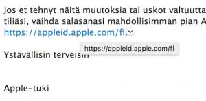 Oikea hoverointi Apple