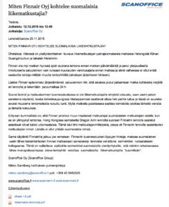 Scanoffice Mikko Sandberg yritystiedote reklamaatio Finnair