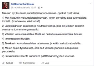 Mä olen nyt kuulkaas ristiriitaisissa tunnelmissa. Speksit ovat tässä: 1) Mut kutsuttiin vaikuttajatapahtumaan, johon on valittu sata suomalaista ihmistä. (Imartelevaa, eikö totta?) 2) Järjestäjänä on asiallinen ja neutraali toimija, joka on julkisen sektorin omistama tunnettu organisaatio. 3) Vilkaisin kutsuvieraslistaa. Siellä on helkutin mielenkiintoisia ihmisiä. 4) Ilmoittauduin mukaan. 5) Tsekkasin kutsuvieraslistan tarkemmin, ja kaikki vaikuttivat naisilta. 6) Mä en oikein tykkää siitä, että mut valitaan jonnekin sukupuoleni perusteella. 7) Järsin tässä vasenta kättäni irti päättämättömyyden kourissa.
