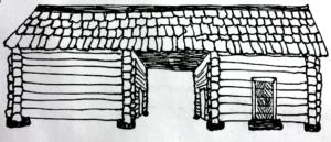 Kuvassa on 1800-luvun maalaistalon pihapiirin sivurakennus. Se on kaksiosainen: rakennuksessa on kaksi suorakaiteen muotoista runko-osaa. Osilla on yhteinen katto, jolloin niiden väliin muodostuu katettu portti, joka on samalla sisäänkäynti maalaistalon umpipihaan.