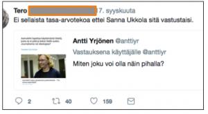 """Kommentti uutiseen: """"Ei sellaista tasa-arvotekoa ettei Sanna Ukkola sitä vastustaisi."""""""
